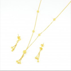Frosted Gold Bead Necklet Set - 2