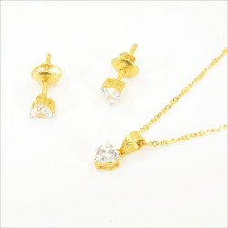 Solitaire C/Z Heart Pendant Set - 1