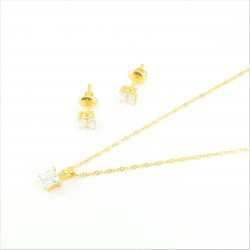 Solitaire C/Z Princess Pendant Set - 1