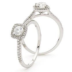 Cushion Shaped Halo Ring with Diamond set Shoulders - 1