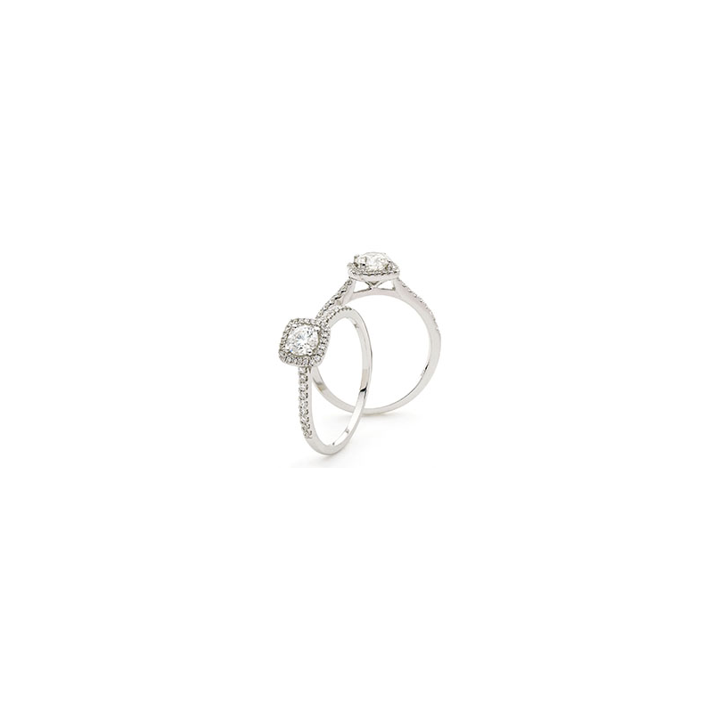 Cushion Shaped Halo Ring with Diamond set Shoulders - 1