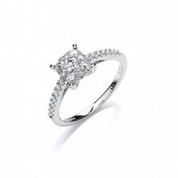 Invisible Cluster Set Ring in 18ct White Gold - 1