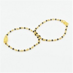 Pair of Black and Gold Bead Baby Bracelets - DMS-C1-B32 - 1