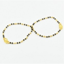 Pair of Black and Gold Bead Baby Bracelets - DMS-C2-B30 - 1