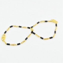 Pair of Black and Gold Bead Baby Bracelets - DMS-C3-B36 - 1