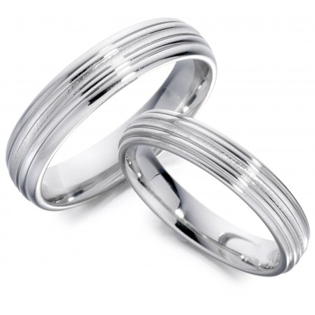Lined wedding band - 1