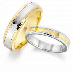 2-tone platinum gold wedding band - 1