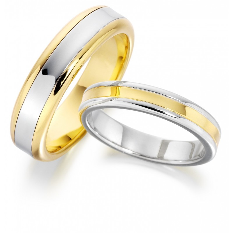 2-tone platinum gold wedding band