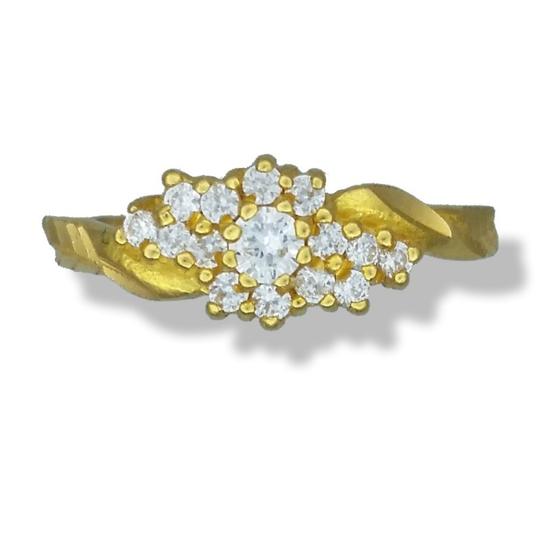 Ladies 22ct Gold C/Z Cluster Ring