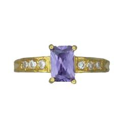 Ladies Emerald-cut Stone Ring