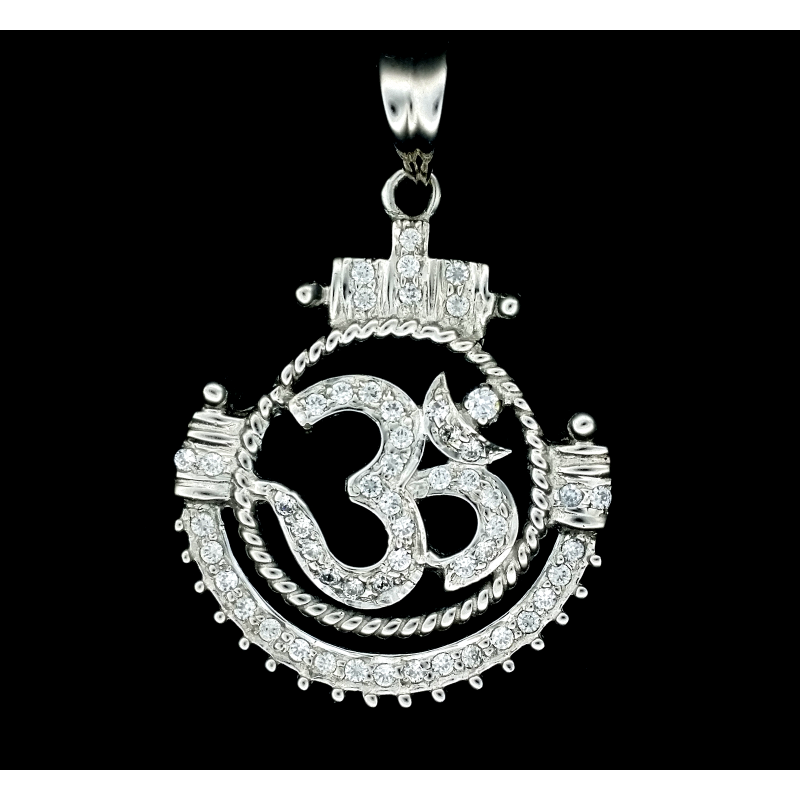 White Gold and C/Z Set Aum Pendant