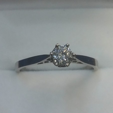 Ladies White Gold Round Diamond Simulant Ring