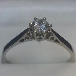 Ladies White Gold Round Diamond Simulant Ring