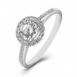 Platinum Halo Engagement Ring with Shoulder Stones.