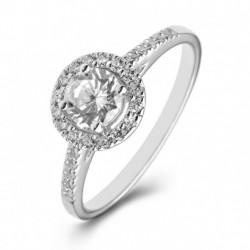 Platinum Halo Engagement Ring with Shoulder Stones.