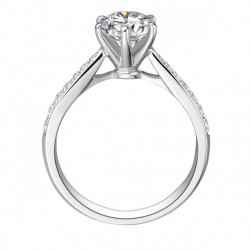Platinum Solitaire with Shoulder Stones Engagement Ring.