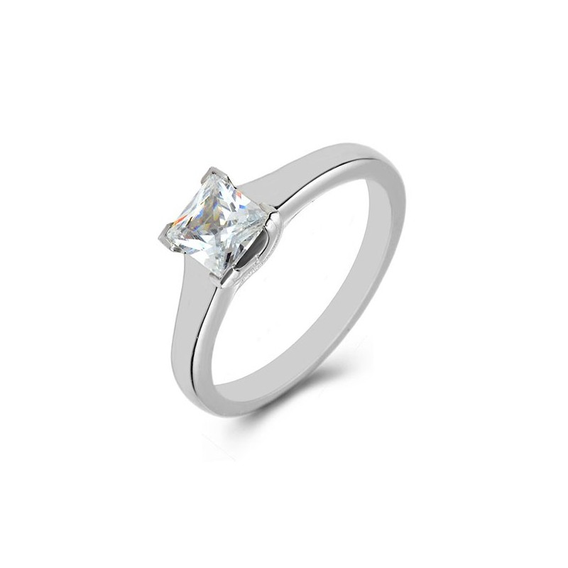 Platinum Solitaire, Princess Diamond Engagement Ring