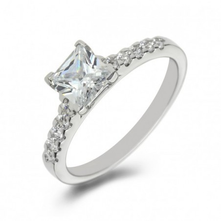 Platinum Princess Diamond with Shoulder Stones Engagement Ring