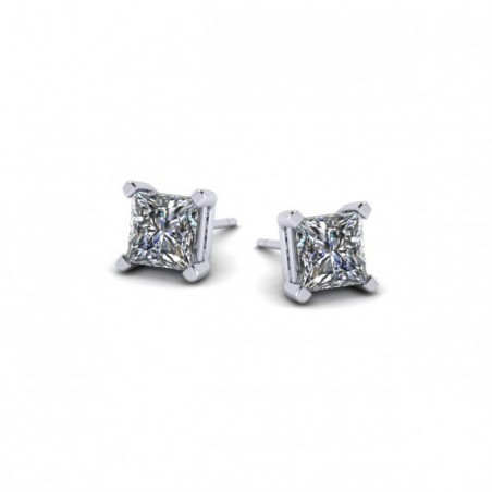 Princess Cut, Double Gallery, Four Claw Studs