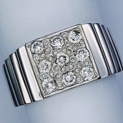 Claw Set Solitaire Diamond Gents Palladium Ring