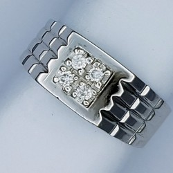 Stunning Diamond Gents Palladium Ring