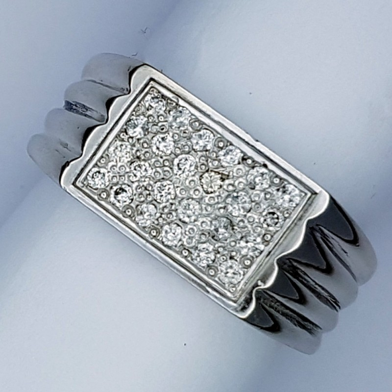Gents Diamond Cluster Palladium Ring