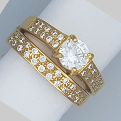 4-claw  bridal ring set with double line C/Z on shoulders