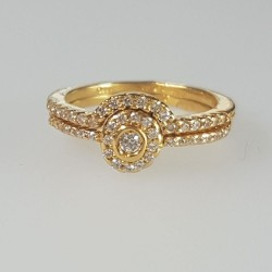 Slim halo style bridal ring set