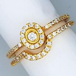 Slim halo style bridal ring set
