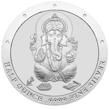 Half Ounce Pure Silver Ganesh Round Coin