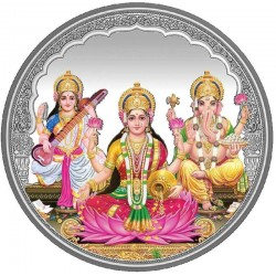 20 grams Trigod Saraswati Lakshmi Ganesh Coloured Silver Coin - 1