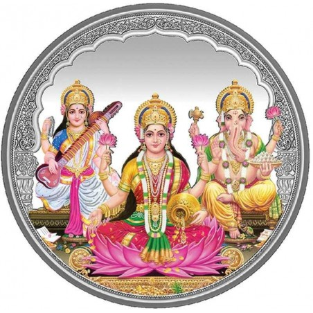 20 grams Trigod Saraswati Lakshmi Ganesh Coloured Silver Coin