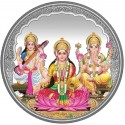 10 grams Trigod Saraswati Lakshmi Ganesh Coloured Silver Coin