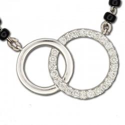 2 Circles Diamond Mangalsutra Pendant