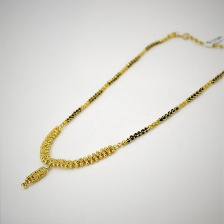 Encased Bead Mangalsutra with a Filigree Drop
