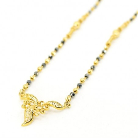 Small Gold Mangalsutra Pendant With Crystal Beads - 1