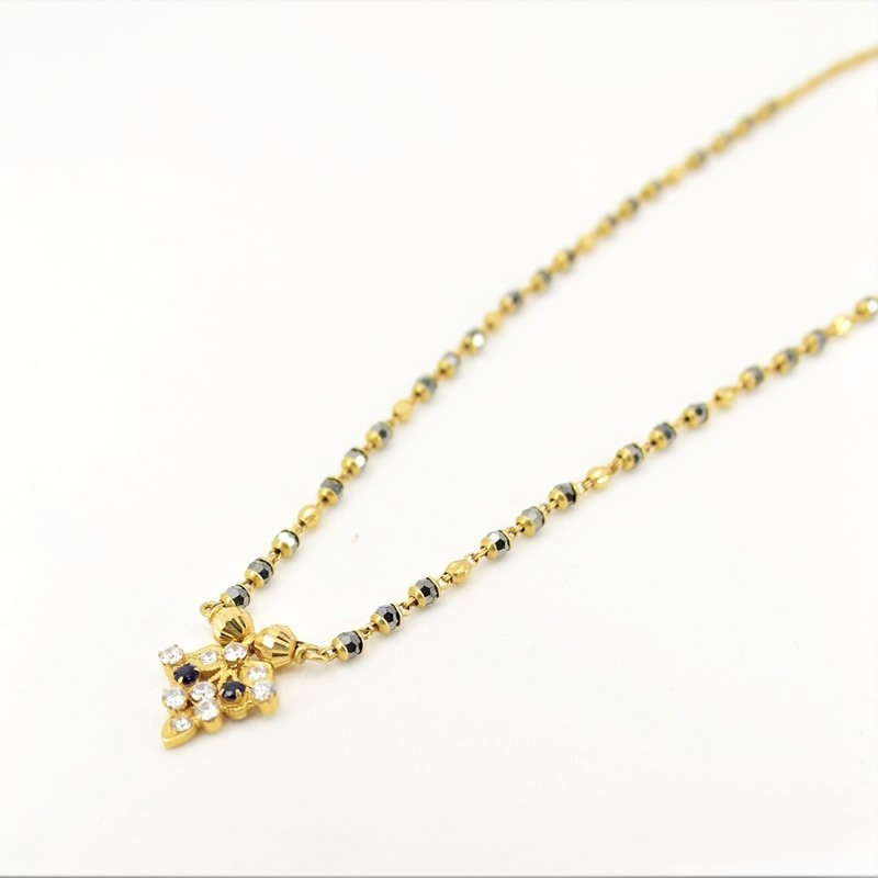 White and Blue C/Z Pendant Mangalsutra - 1
