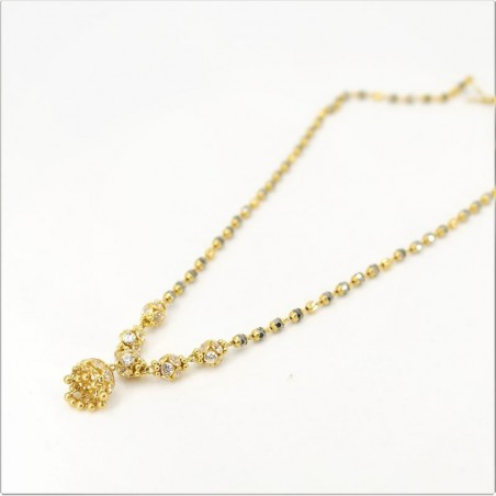 White C/Z ball and Jumar Pendant Mangalsutra