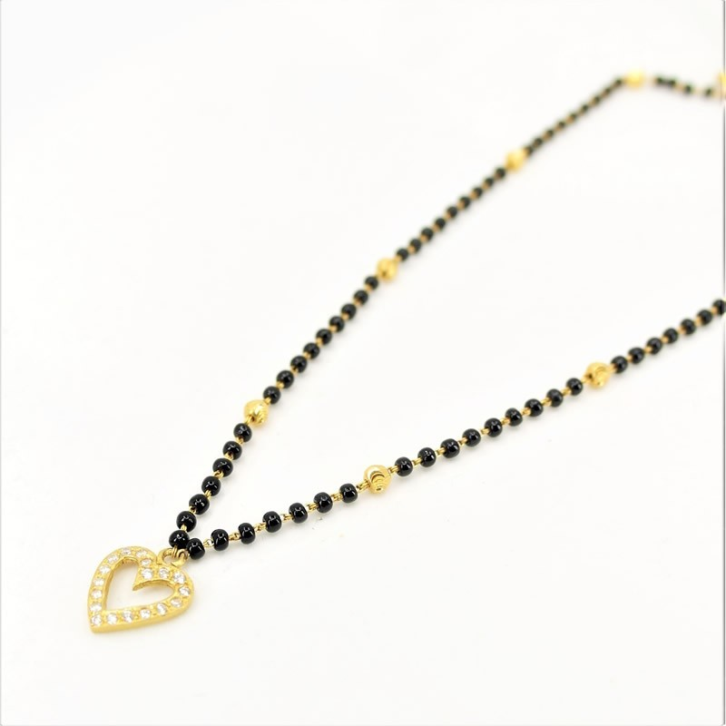 Heart shaped C/Z Pendant Mangalsutra - 1