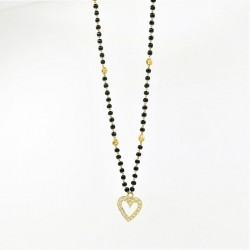 Heart shaped C/Z Pendant Mangalsutra - 2