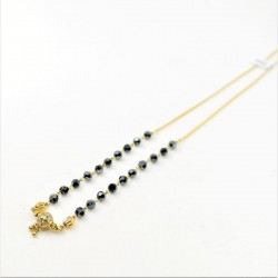 Black Crystal and C/Z Ball Pendant Mangalsutra