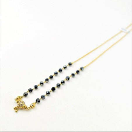 Black Crystal and C/Z Ball Pendant Mangalsutra - 1