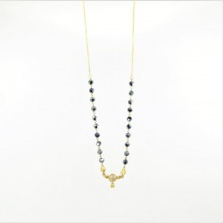 Black Crystal and C/Z Ball Pendant Mangalsutra - 2