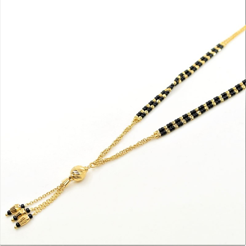 Gold Chain and Black Bead Mangalsutra