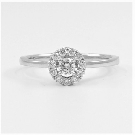 0.30ct Halo Soitaire Diamond Ring in 18ct White Gold
