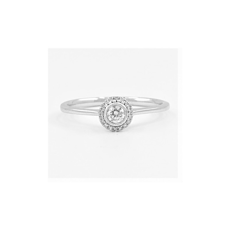 0.18ct Halo Soitaire Diamond Ring in 18ct White Gold